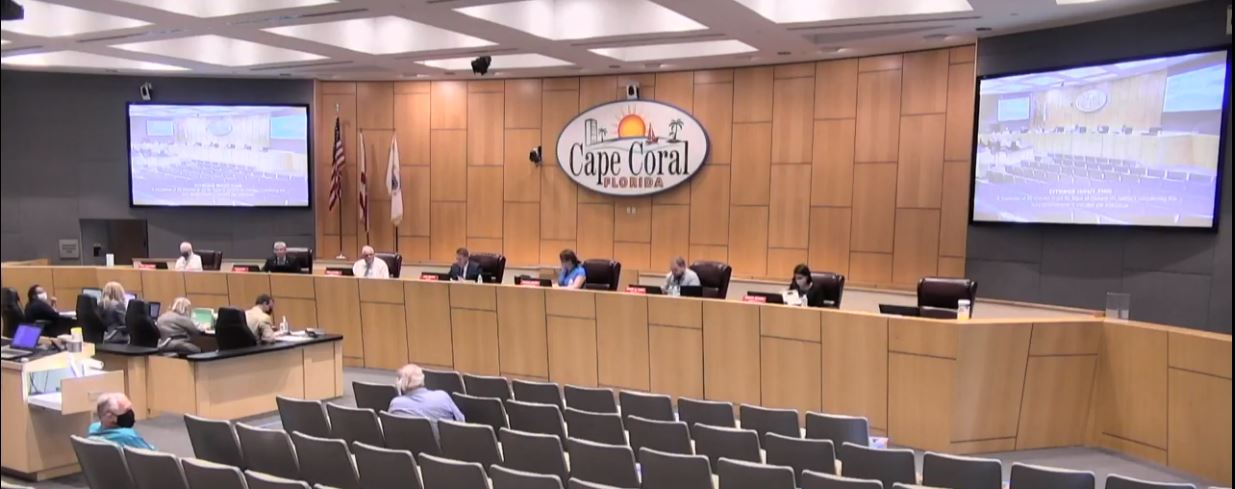 Picture of Cape Coral City Mayor & Council on Dias in Chambers