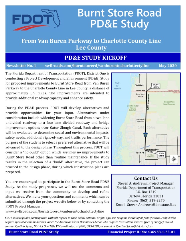 Flyer from the FDOT showing plans to widen North BSR .