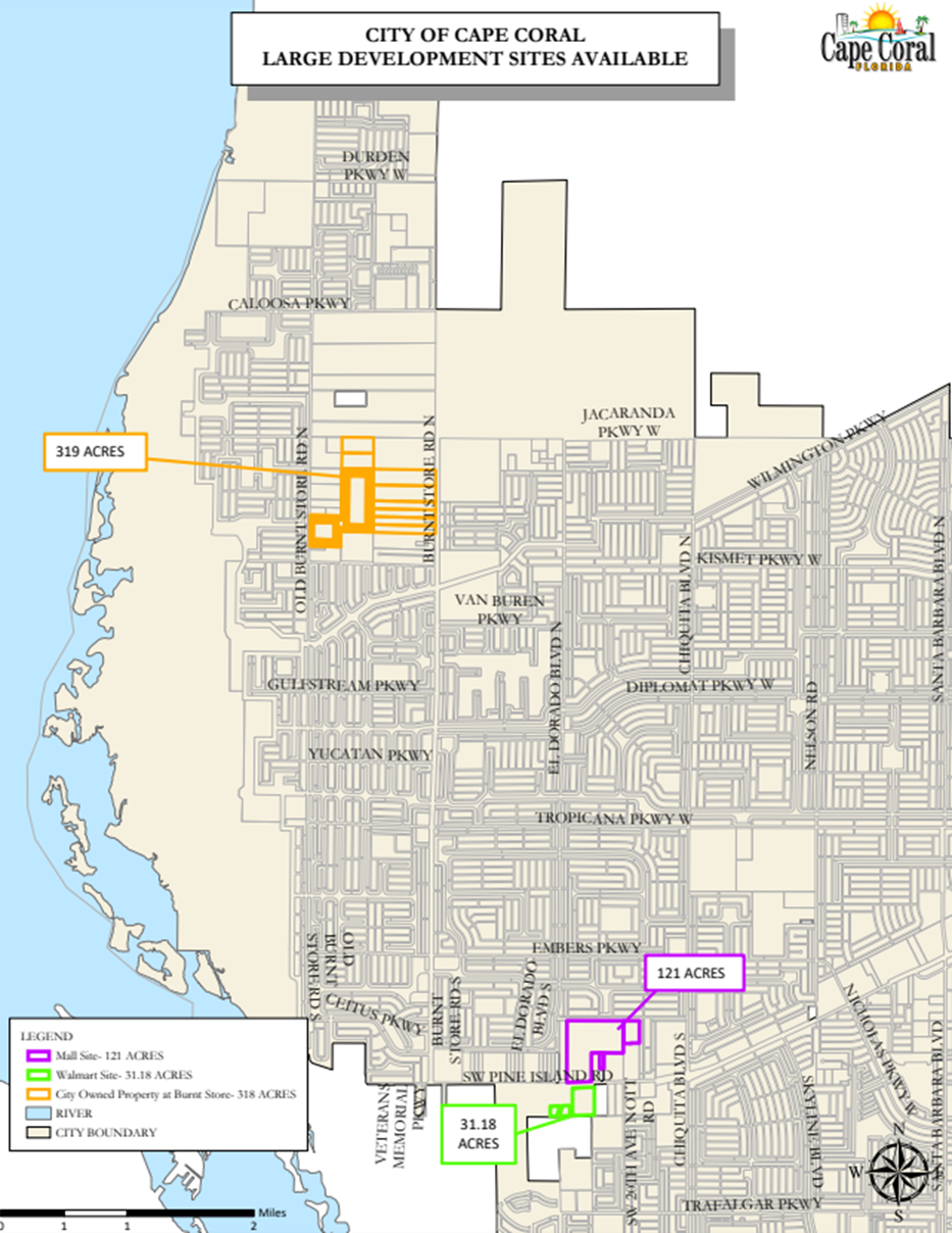 Map of City of Cape Coral developers land available