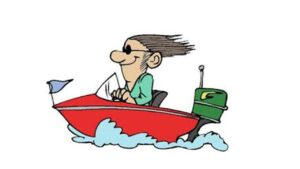 Picture of a cartoon man in boat