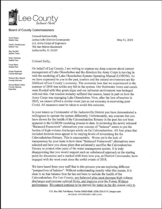 Copy of County Commissioners Letter to USACE Pg 1
