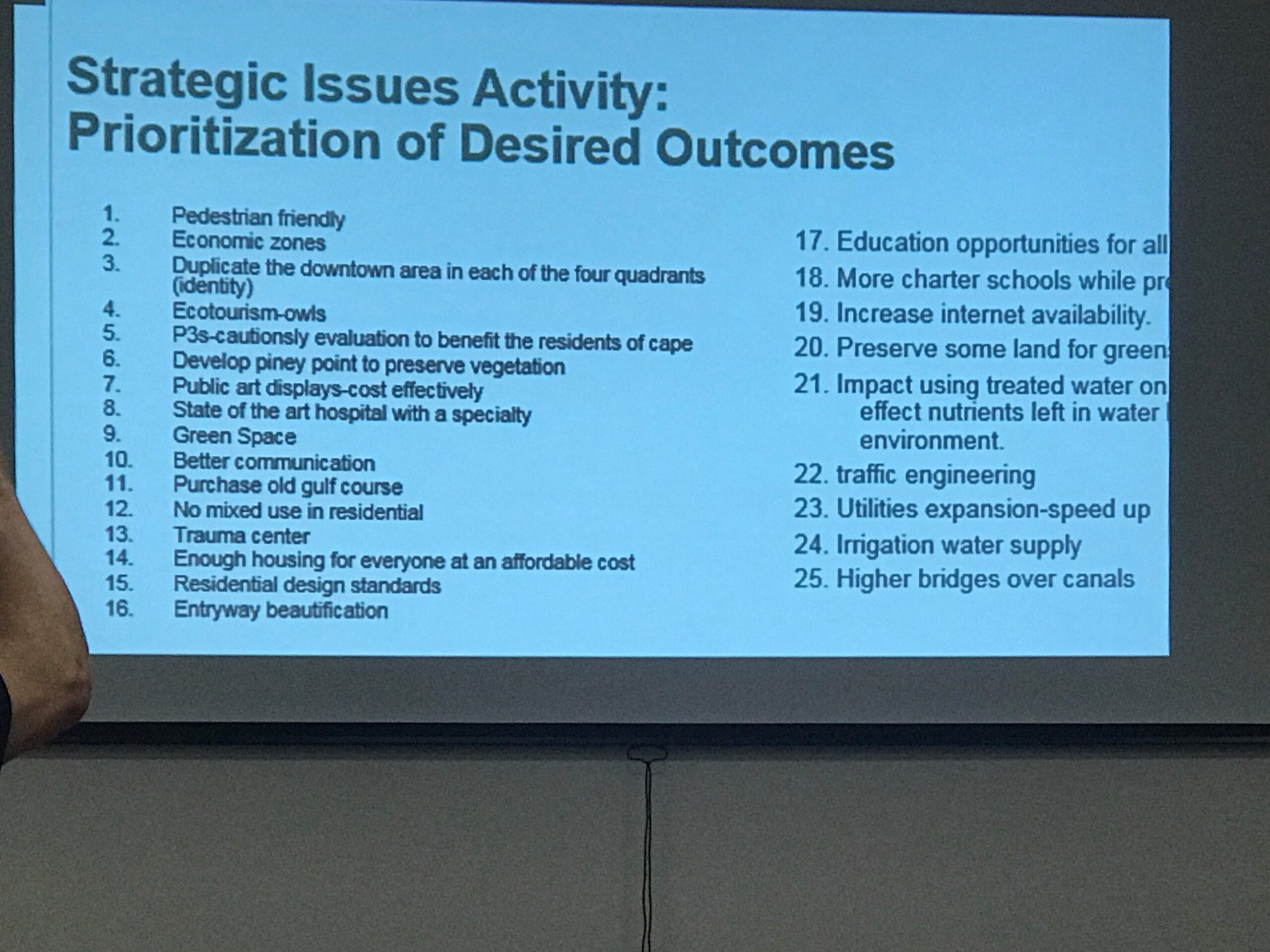 Picture of a slide from Meeting