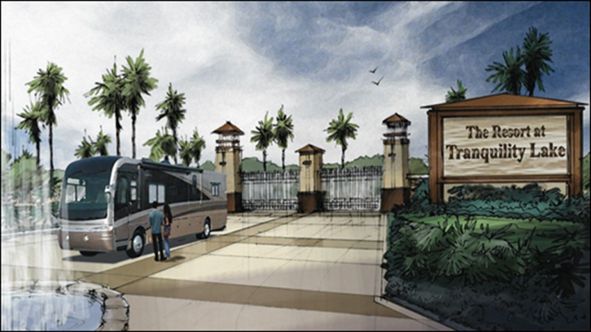 Artist rendering of front entrance of RV resort